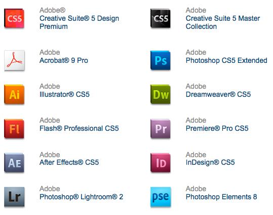 les nouvelles icônes adobe CS5 1