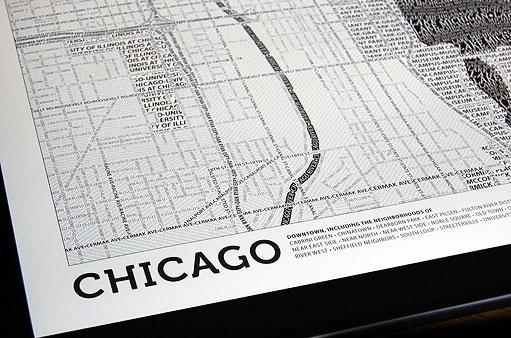 Les cartes de villes en typographie #boston #chicago 2