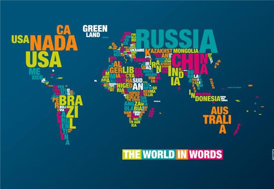 The world in words - Typomap du monde en typographie 2