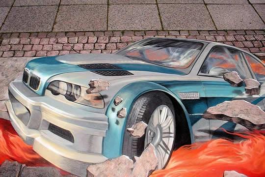 43+ superbes dessins avec illusions 3D - Edgar Müller, J.Beever, Fredo 13