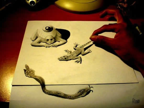 43+ superbes dessins avec illusions 3D - Edgar Müller, J.Beever, Fredo 28