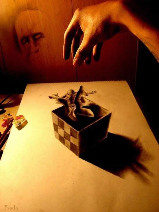 43+ superbes dessins avec illusions 3D - Edgar Müller, J.Beever, Fredo 24