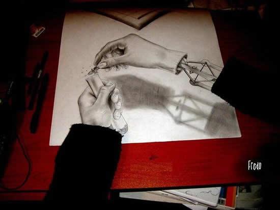 43+ superbes dessins avec illusions 3D - Edgar Müller, J.Beever, Fredo 34