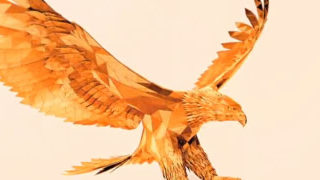 Superbe animation 3D d'un aigle en origami 1