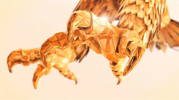Superbe animation 3D d'un aigle en origami 2
