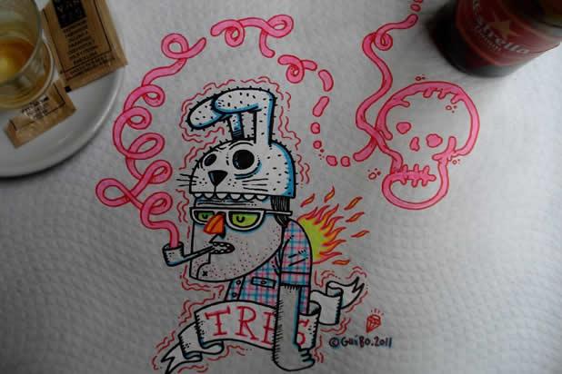 El Guibo - Le mec qui dessine sur la table du resto 3