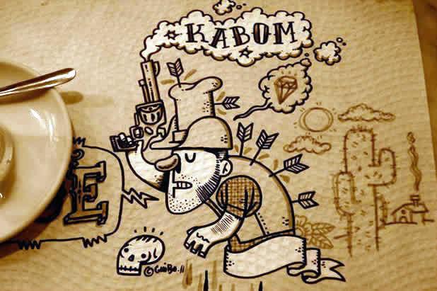 El Guibo - Le mec qui dessine sur la table du resto 11