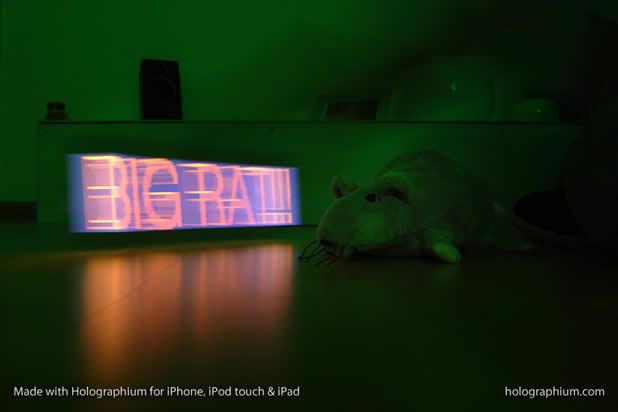 Créer une typographie Holographique avec holographium et un Iphone 3