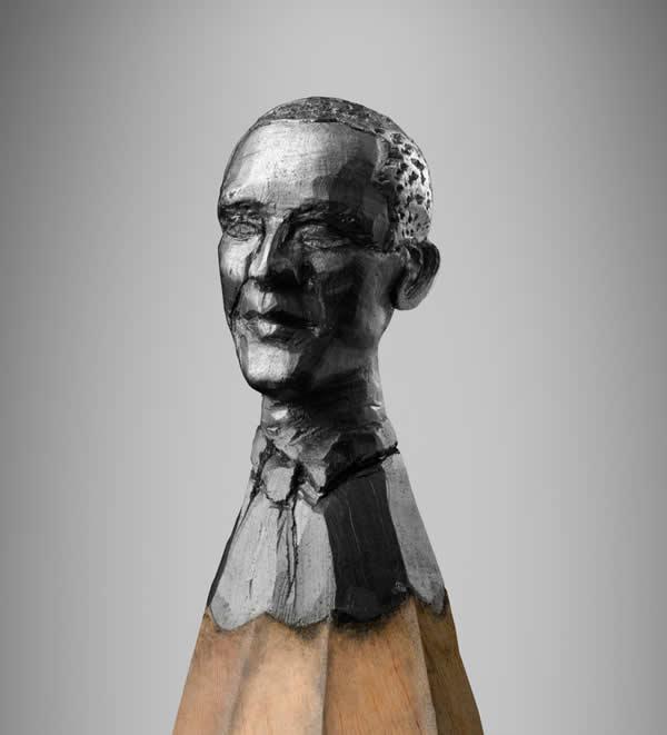 Obama, Merkel et  Sarkozy sculptés sur des mines de crayons 7