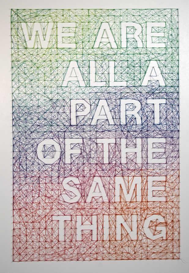 Posters typographiques en clous et fils 6