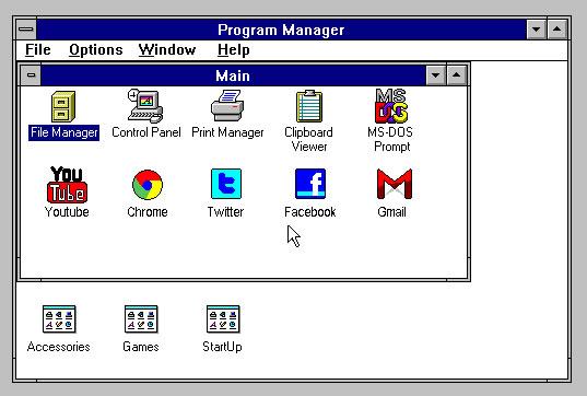 Et si nos réseaux sociaux étaient sur Windows 3.1 ? 2