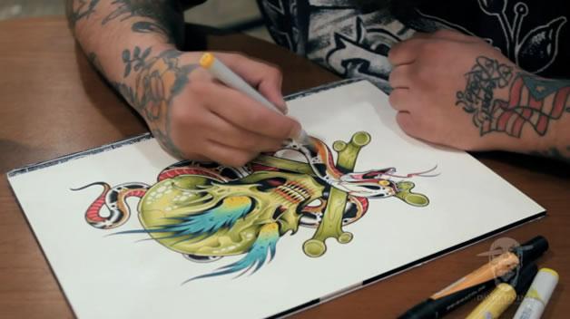 Timelapse de dessin d'un tatouage 2