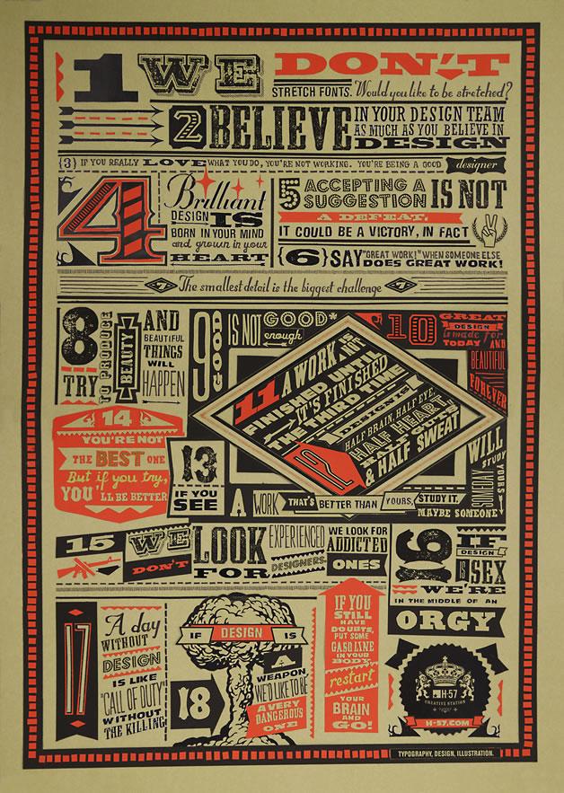 Les 18 nouveaux commandements du Designer - Poster typographique 2