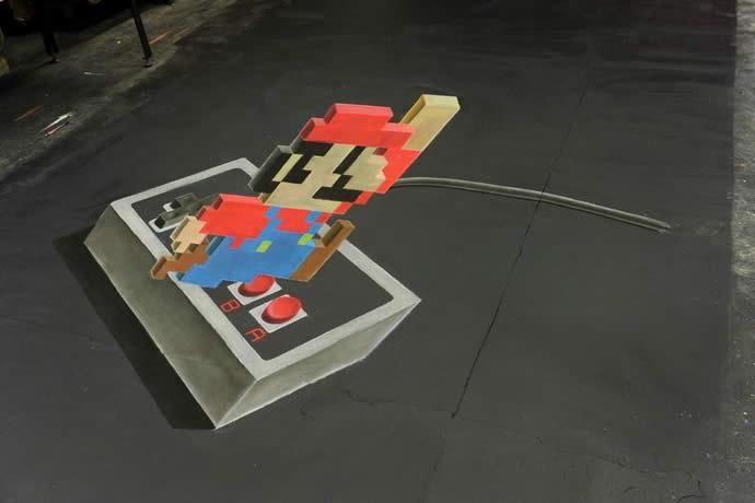 Super Mario - dessin à la craie en 3D (Time Lapse) 2