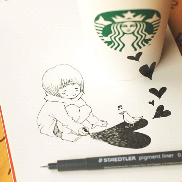 Illustration : Les Doodles Starbucks de Tokomo 3