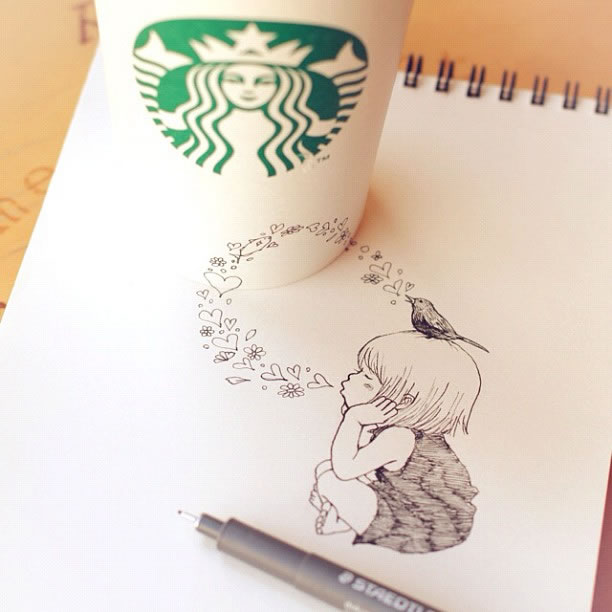 Illustration : Les Doodles Starbucks de Tokomo 6