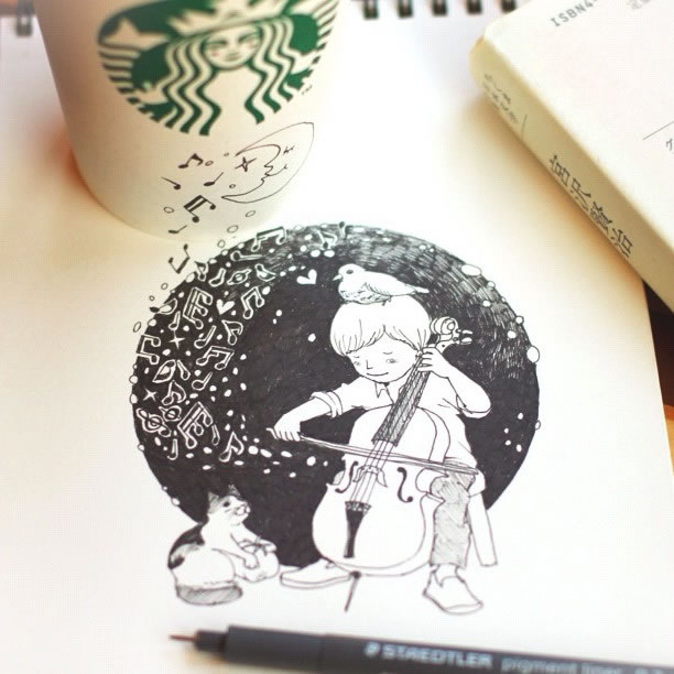 Illustration : Les Doodles Starbucks de Tokomo 9