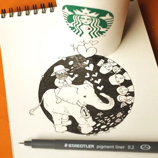 Illustration : Les Doodles Starbucks de Tokomo 12