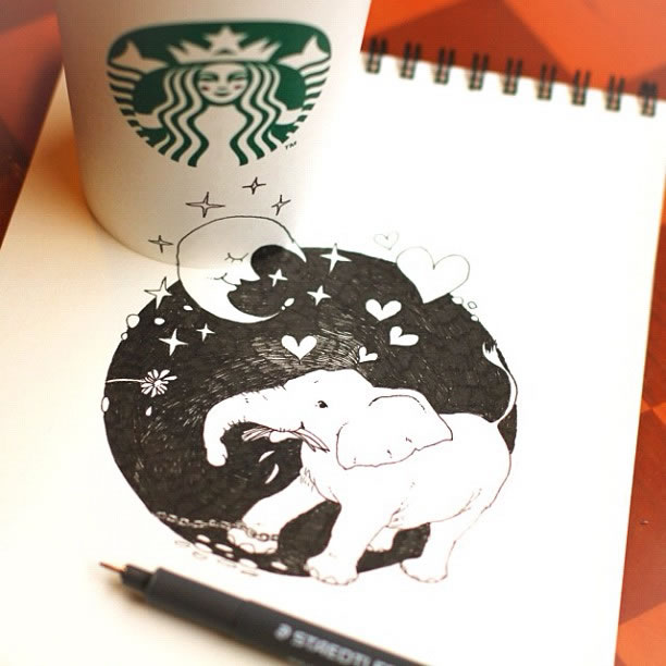 Illustration : Les Doodles Starbucks de Tokomo 13