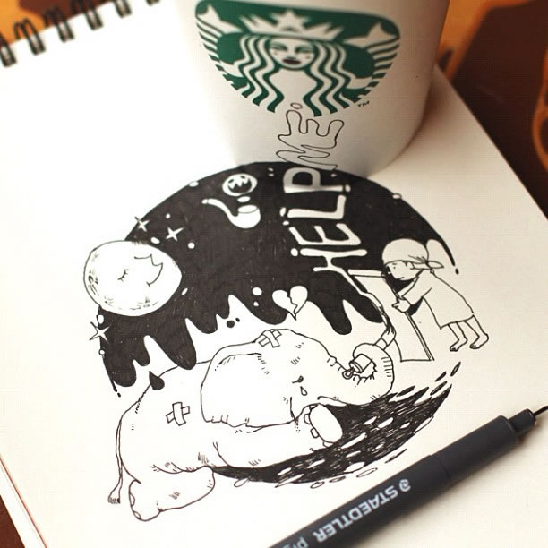 Illustration : Les Doodles Starbucks de Tokomo 14