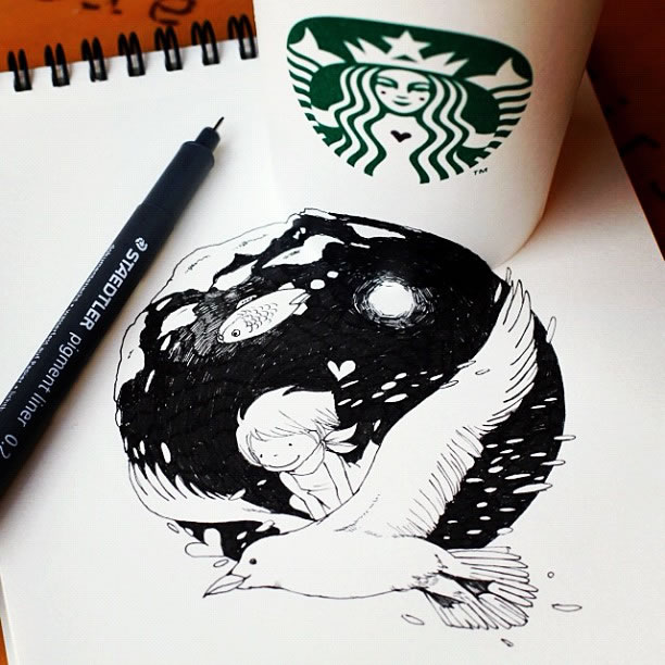Illustration : Les Doodles Starbucks de Tokomo 17