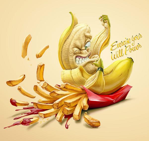 Illustrations : banane, frite et maïs par Oscar Ramos 9