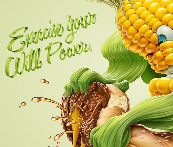 Illustrations : banane, frite et maïs par Oscar Ramos 2