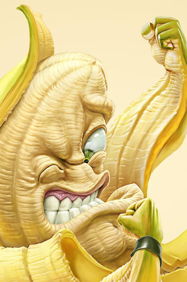 Illustrations : banane, frite et maïs par Oscar Ramos 3