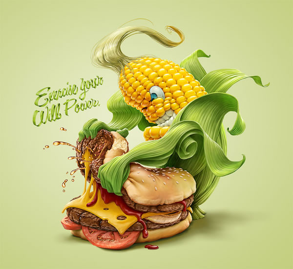 Illustrations : banane, frite et maïs par Oscar Ramos 6
