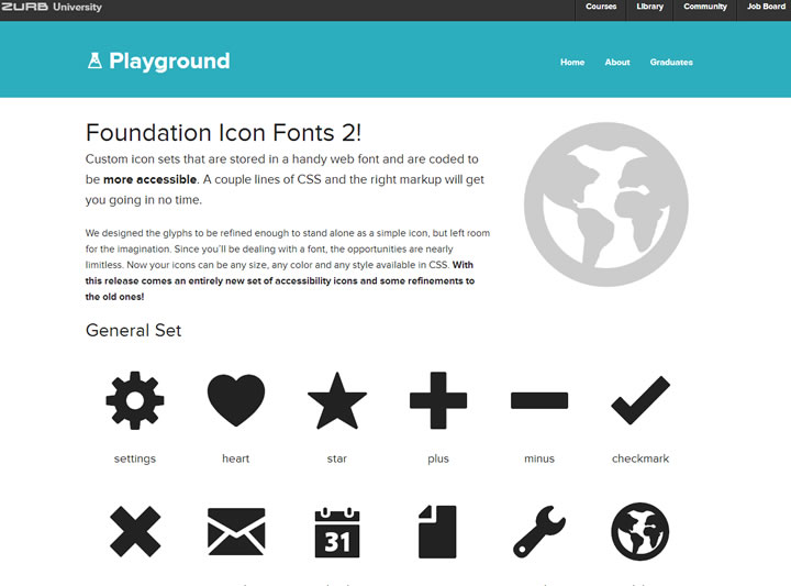 icons font - playground
