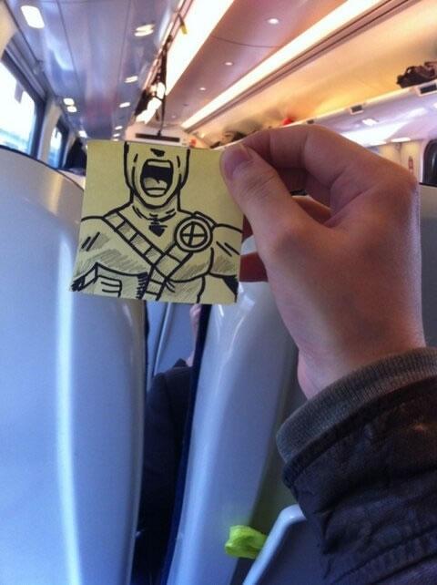 October Jones postit train-12