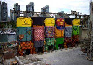 Street Art – Os Gemeos illustrent les silos de Vancouver