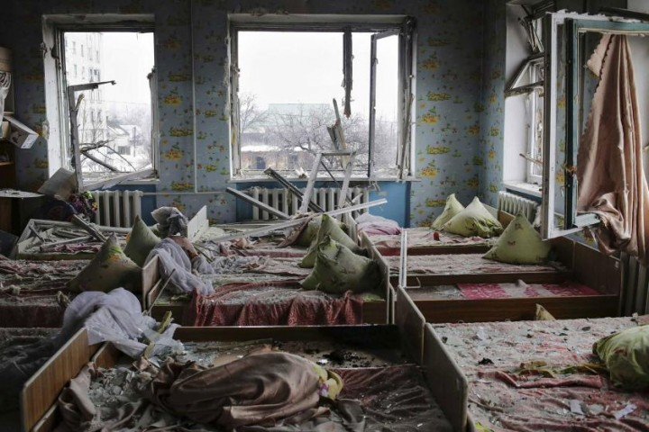 epa04986316 YEARENDER 2015 JANUARY A general view of the kindergarten No9 which was shelled in Debaltseve, Donetsk area, Ukraine, 22 January 2015. The violence in eastern Ukraine surged again amid reports that government troops gave up Donetsk airport after months of fighting against pro-Russian separatists. EPA/ANASTASIA VLASOVA