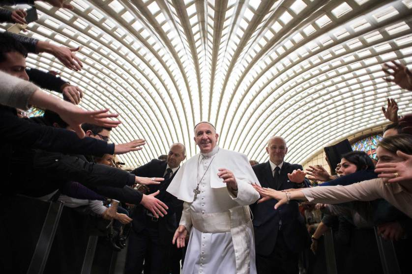 Pope Francis arrives for a special audience with members of the dioceses of Cassano allo Jonio, southern Italy, at the Vatican, Saturday, Feb. 21, 2015. (AP Photo/L' Osservatore Romano, pool)