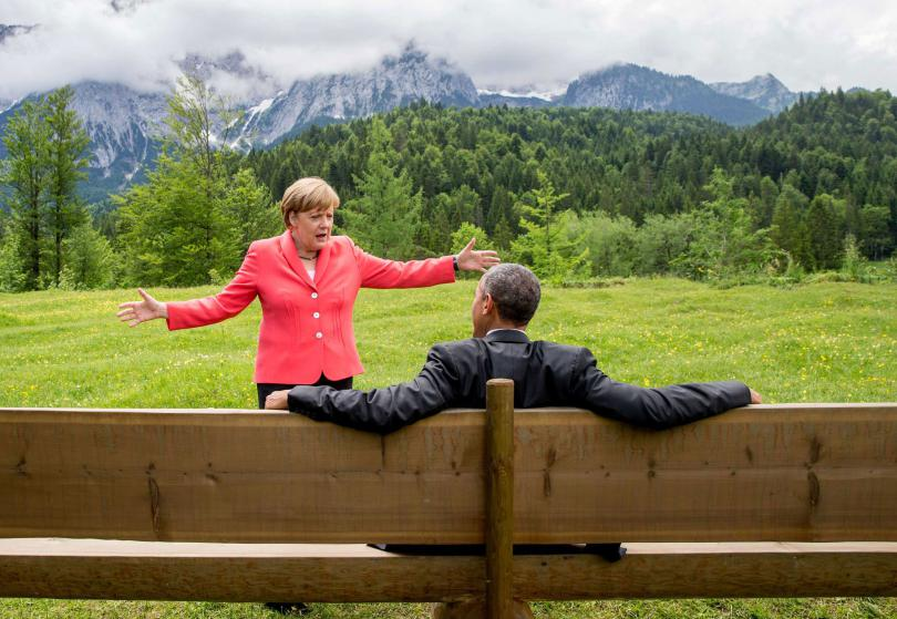 German chancellor Angela Merkel speaks with U.S. president Barack Obama at Schloss Elmau hotel near Garmisch-Partenkirchen, southern Germany, Monday June 8, 2015 during the G-7 summit. (Michaek Kappeler/Pool Photo via AP)