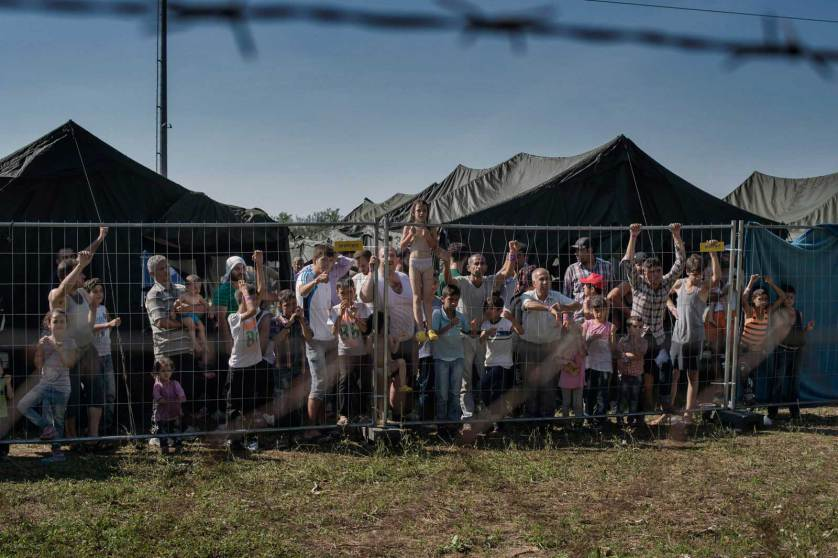 ROSZKE, Hungary August 29 2015 A group of migrants waits at a makeshift detention camp for Hungarian authorities to register their arrival in the European Union.