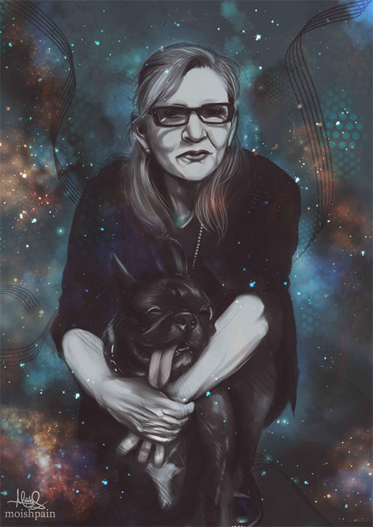 Les hommages en illustrations de Carry Fisher ou Princesse Leia dans StarWars 14