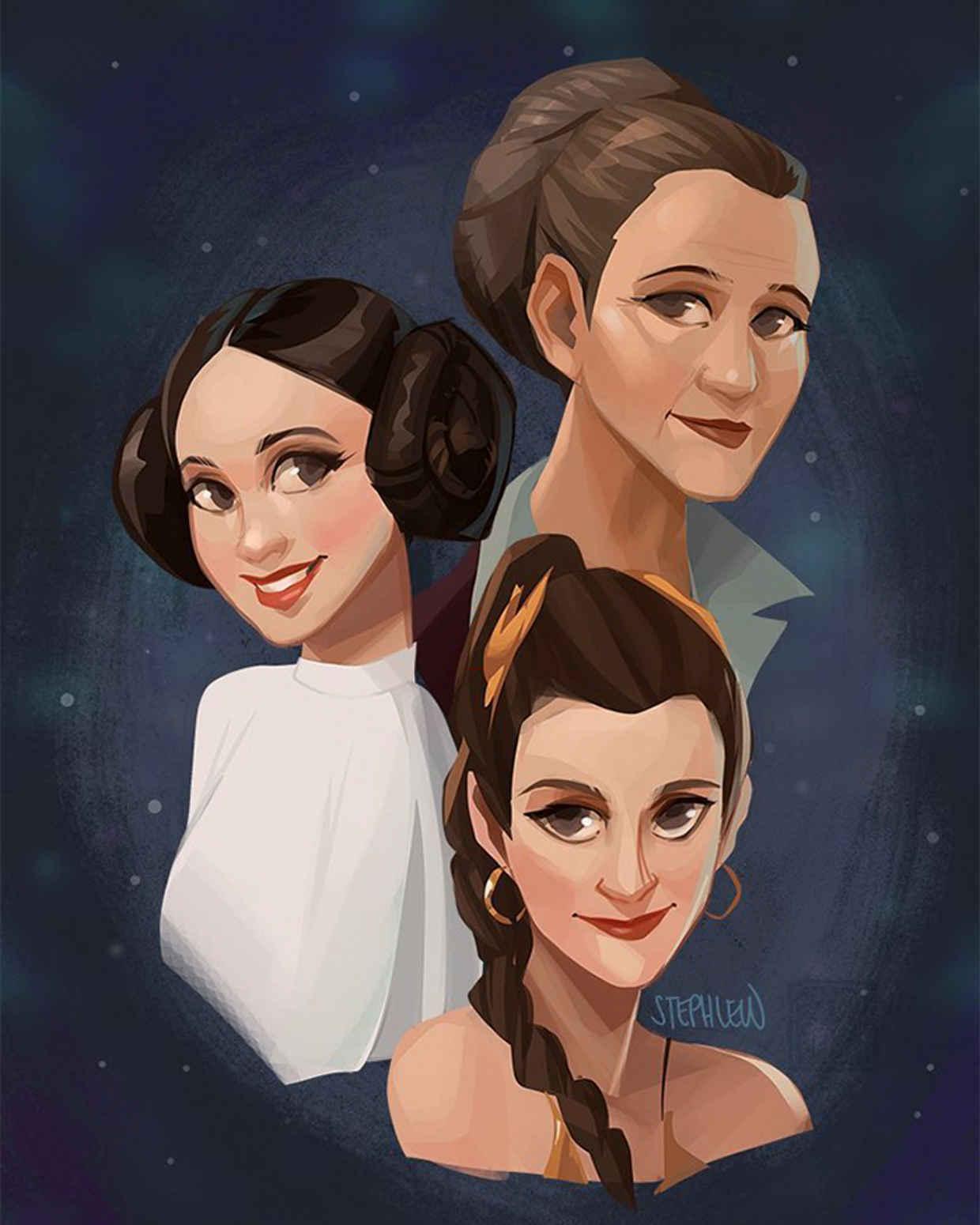 Les hommages en illustrations de Carry Fisher ou Princesse Leia dans StarWars 16
