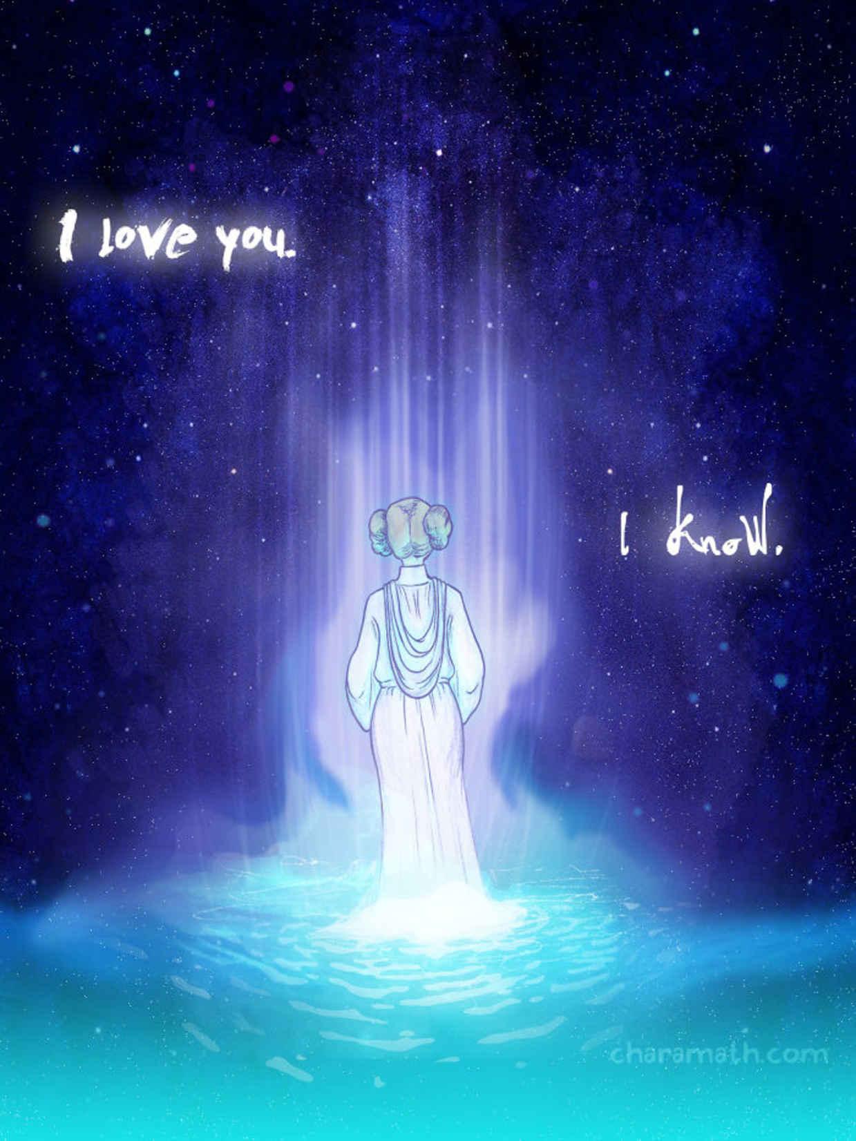 Les hommages en illustrations de Carry Fisher ou Princesse Leia dans StarWars 3