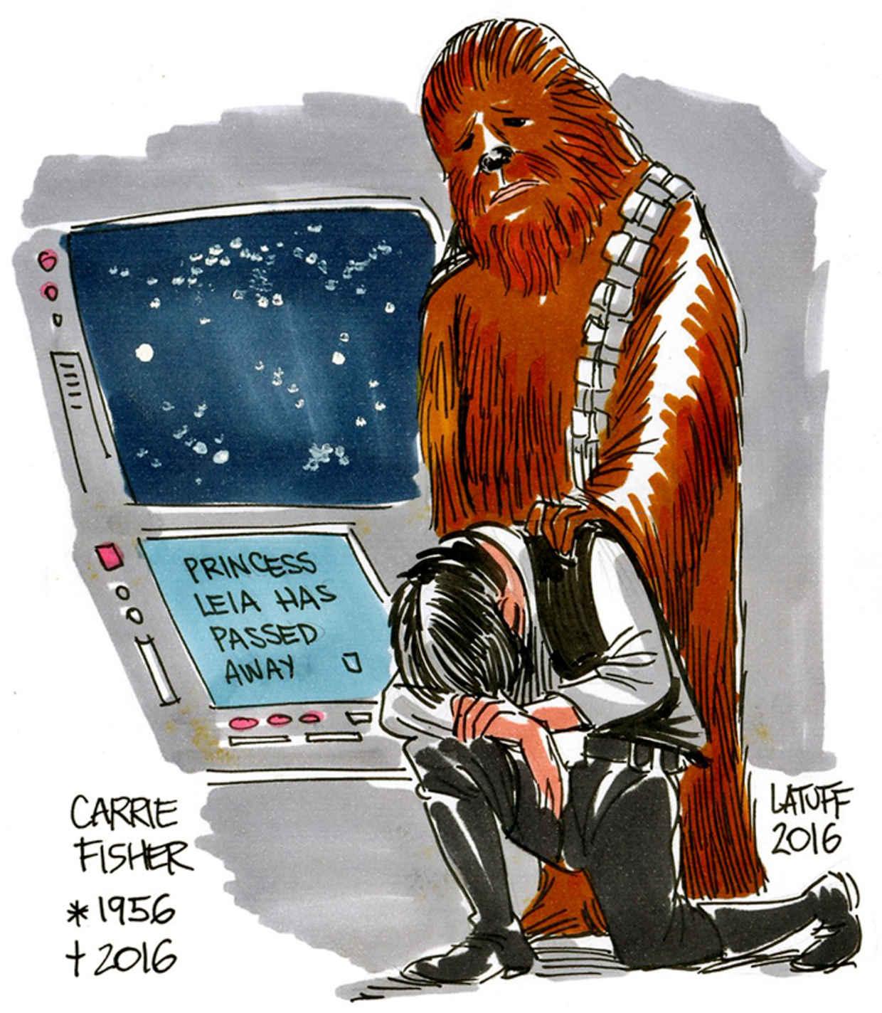 Les hommages en illustrations de Carry Fisher ou Princesse Leia dans StarWars 4