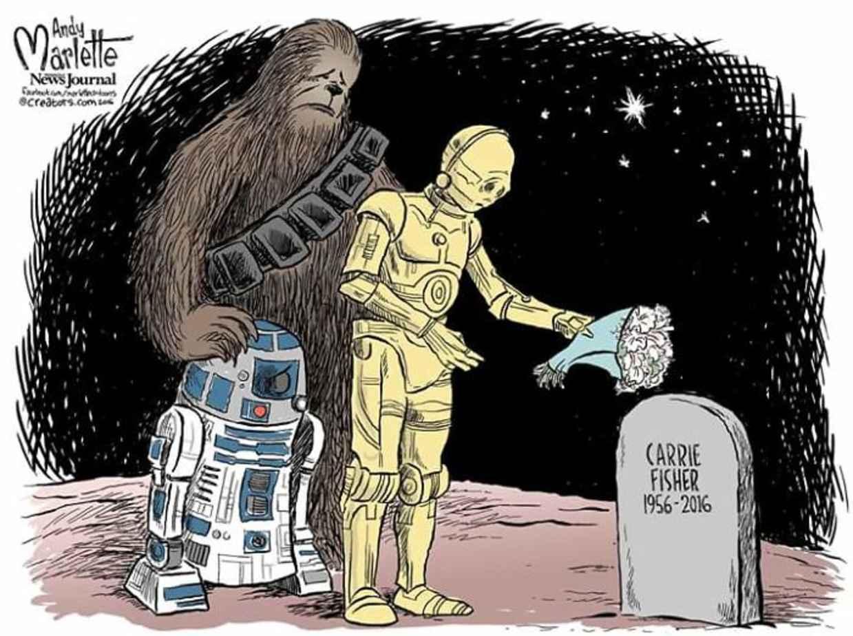 Les hommages en illustrations de Carry Fisher ou Princesse Leia dans StarWars 8