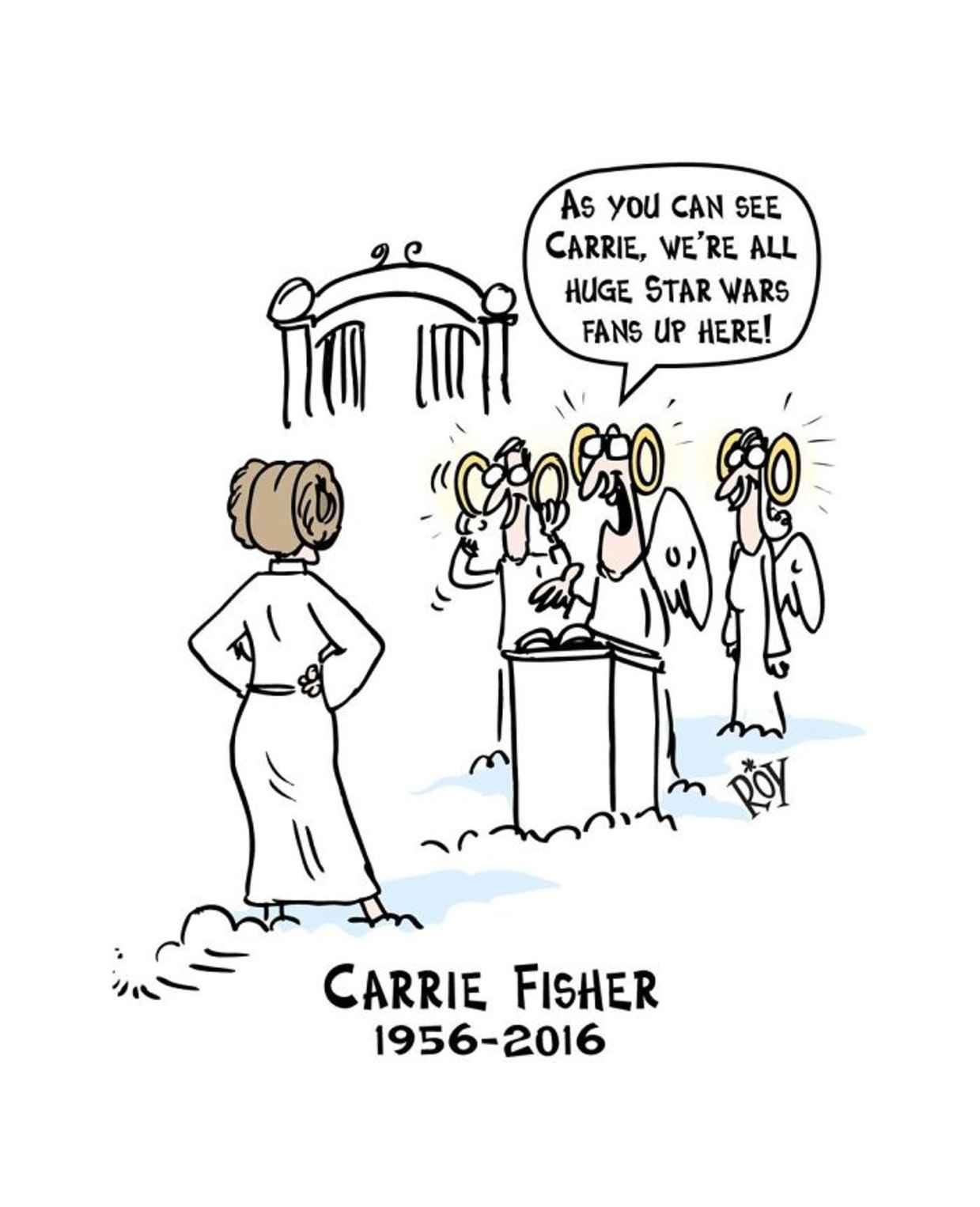 Les hommages en illustrations de Carry Fisher ou Princesse Leia dans StarWars 5