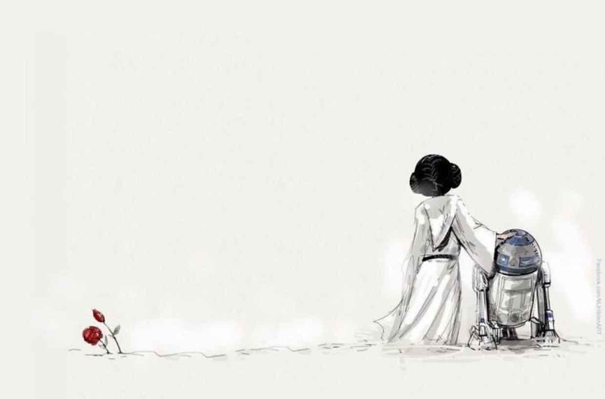 Les hommages en illustrations de Carry Fisher ou Princesse Leia dans StarWars 9