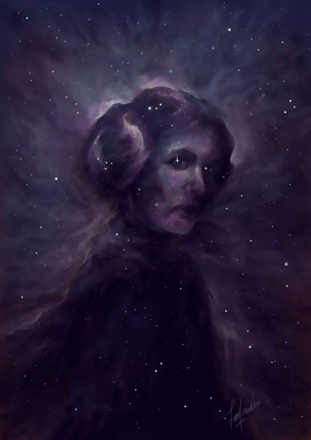Les hommages en illustrations de Carry Fisher ou Princesse Leia dans StarWars 10
