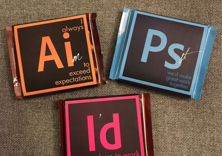 Postulez avec des chocolats Adobe Illustrator, Photoshop et InDesign