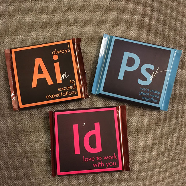 Postulez avec des chocolats Adobe Illustrator, Photoshop et InDesign 2