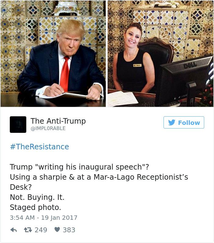 Les meilleurs détournements de la photo de Trump en train d'écrire 9