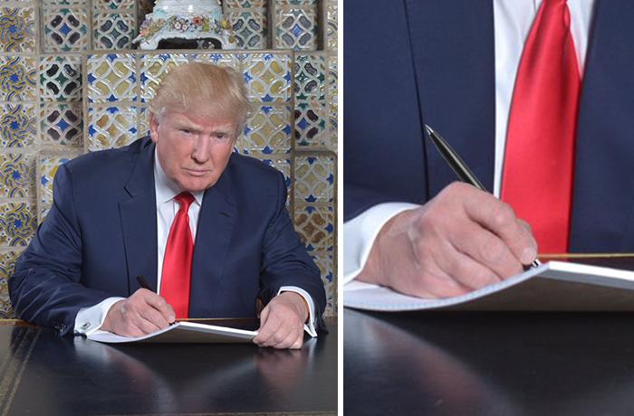 Les meilleurs détournements de la photo de Trump en train d'écrire 10