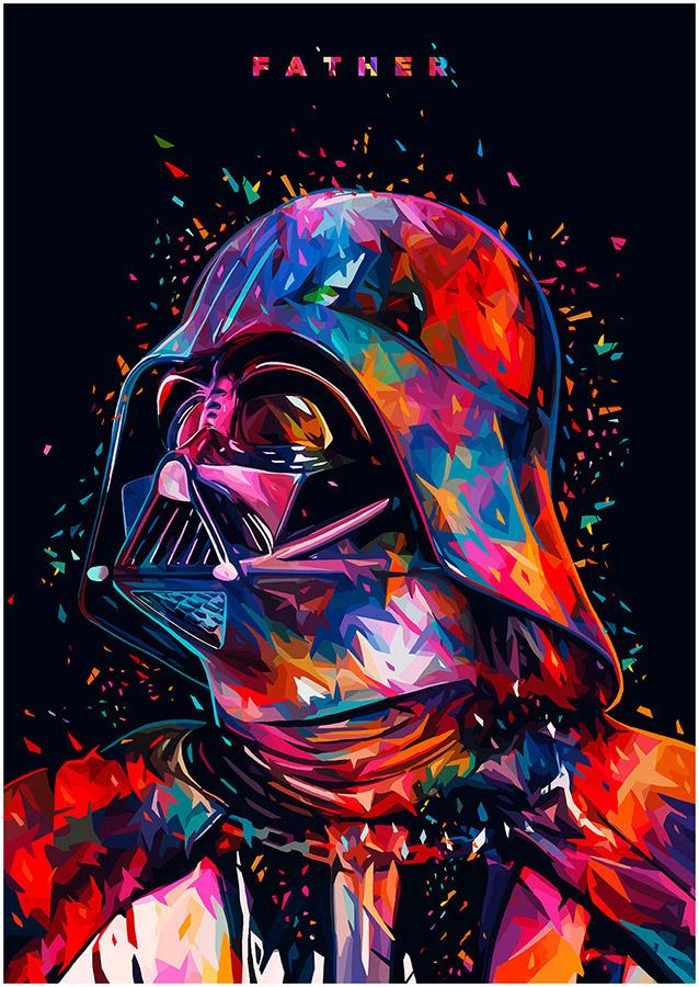 Illustrations lowpoly : Les portraits Star Wars prennent de la couleur 2