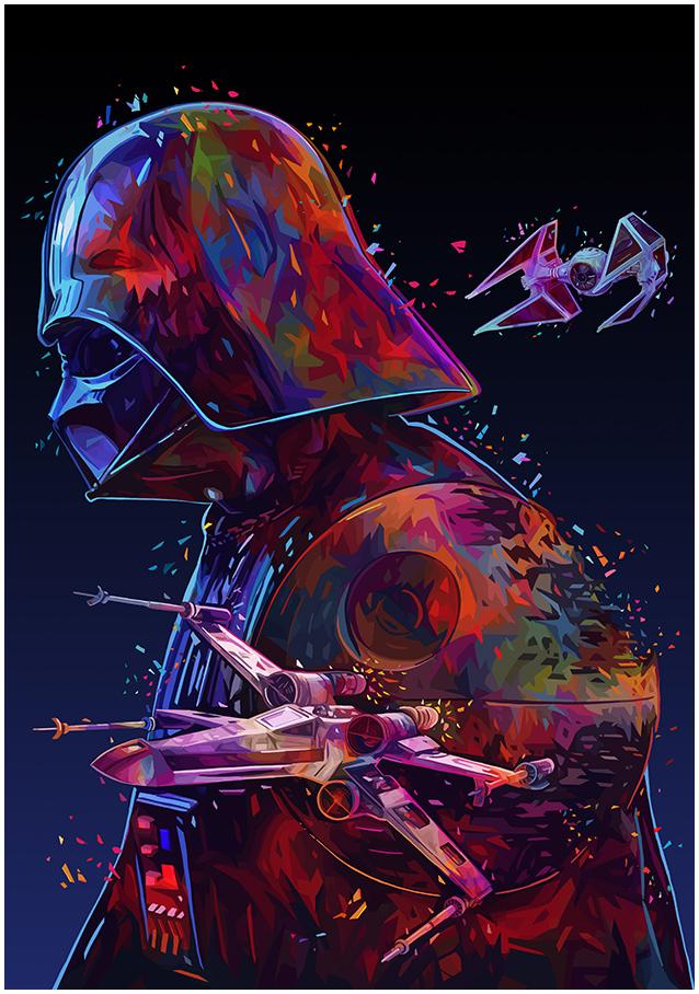 Illustrations lowpoly : Les portraits Star Wars prennent de la couleur 8